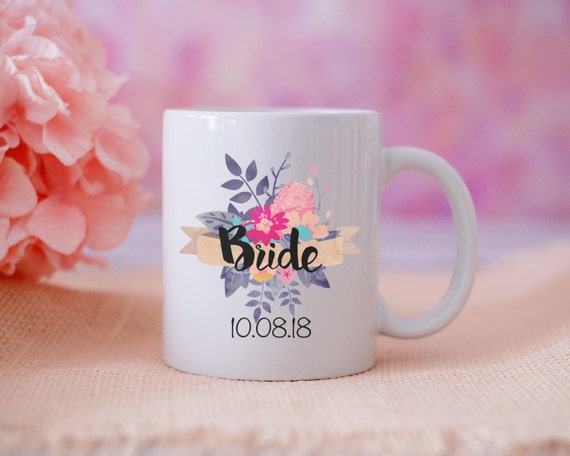 Floral Bride to be Mug, Does This Ring Make Me Look Engaged Mug, Engagement Gift, Wedding Gift, Bride Gift, Floral Wreath Mug, Bride Mug