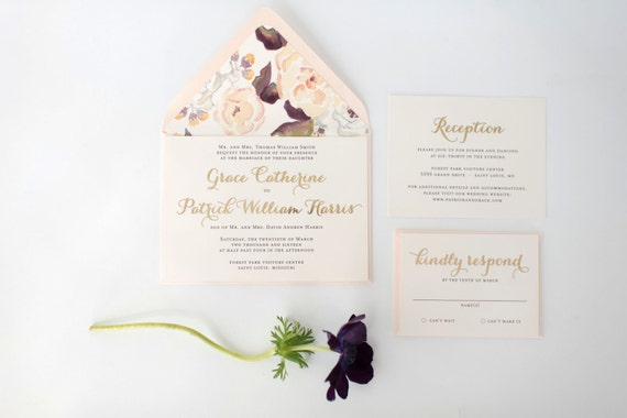 grace gold foil wedding invitation sample set  // lola louie paperie