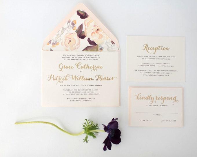 grace gold foil wedding invitation sample set  // lola louie paperie