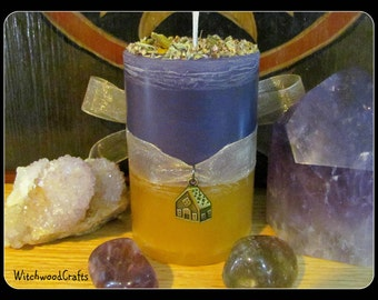 DIVINE HOME - Scented Pillar Candle - Greek Goddess Hestia - Kiwi Lilac Pineapple - Pagan Wicca - Wiccan Witch - Altar Shrine - Witchcraft