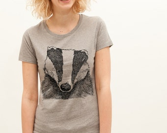 Earth Positive Organic Cotton Badger Wildlife Nature Animal Eco Friendly T Shirt For Women. Grey, White Or Green. Sizes S-XL
