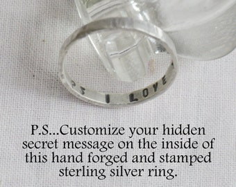 Hidden Secret Message Custom Personalized Stackable Solid Sterling Silver Hand Stamped Ring