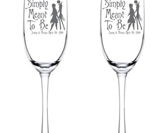 Simply Meant to Be Jack and Sally Flutes Personalized - Glassware - Toasting Flutes - Nightmare Before Christmas - Glasses -Anniversary Gift