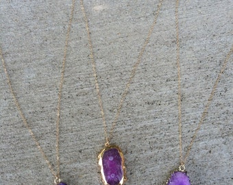 All gold layering necklace (Pink/Purple Stone)