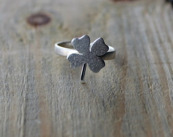 Silver Ring-Silver Clover Ring-Silver Shamrock Ring- Four Leaf Clover Ring-Sterling Silver Shamrock Ring-Plant Jewelry