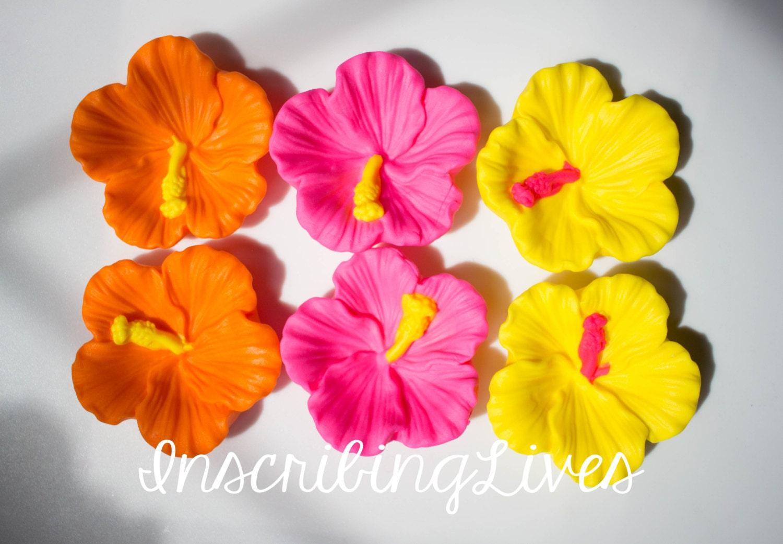 hibiscus fondant flowers 6pcs hibiscus edible fiesta edible flowers ...