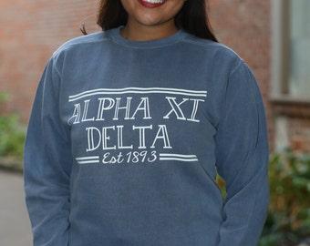 Alpha Xi Delta Comfort Color Crewneck Sweatshirt - AXiD Letter Shirt - Comfort Color Oversized Shirt