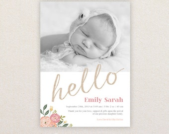 Girls Photo Birth Announcement. Hello with pretty florals. I Customize, You Print.