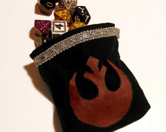 MADE TO ORDER - pochette pouch dice bag coin purse rebel alliance star wars rpg role play game magic the gathering nerd geek d&d