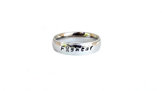 Fighter Inspirational Ring Stainless Steel Cancer Ribbon