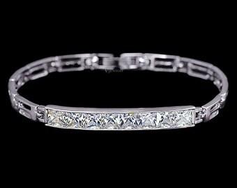 Cubic Zirconia Princess Cut Bracelet, Bar Channel Bracelet, Silver Bar Bracelet, Crystal Bar Bracelet, Crystal Wedding Bracelet, AB0033