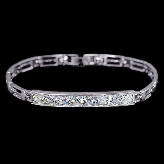0 65 ct Bar Cubic Zirconia Bracelet Princess Cut Channel