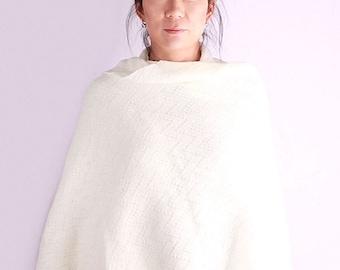 Wedding shawl, knit shawl, oversized scarf, bridal wrap, knit scarf, white shawl, winter shawl, knit wrap, winter scarf, Feather
