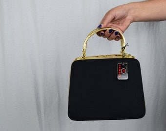 NEW Vintage Black + Gold Handbag / Comeco
