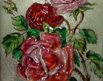 Lovely French Circa 1900 Enamel Limoges Eternal Roses Flowers Betourne Painting ! Signed M. Betourne Limoges