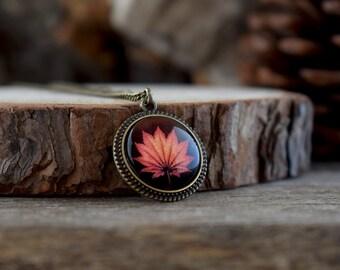 Maple leaf necklace, Fall leaf pendant, Autumn jewelry, Orange leaf jewelry, Glass dome necklace, Boho brass jewelry, Orange necklace NJ 020