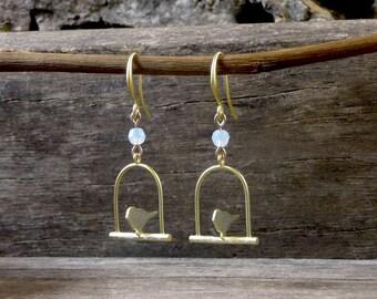 Bird Cage Earrings, Swing Bird Matte Gold Plated Earrings, Bird Jewelry, Birdcage Jewelry, Bridesmaids Gift, Dangle Earrings