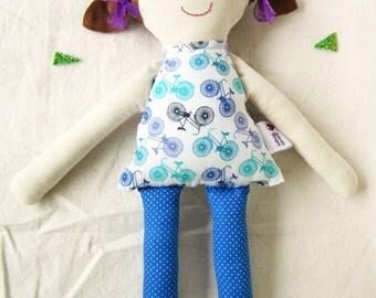 Handmade Fabric Doll, gift, kids, rag doll, blue eyes brown hair, toy, toy, Valentine