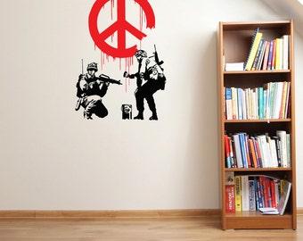 Peace Propaganda Wall Decal - Banksy Wall Art, sticker, vinyl wall art, home decor