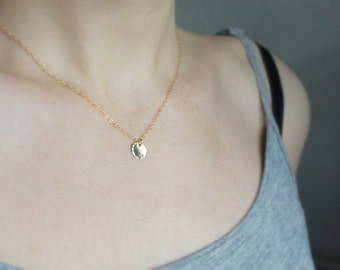 Gold Dot Necklace Everyday necklace Dainty gold necklace gold filled necklace small disc necklace short gold necklace simple jewelry