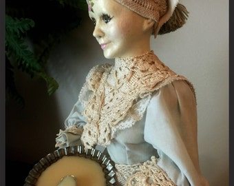 "Hand Painted Vintage Altered Bisque Doll ""Nettie"""