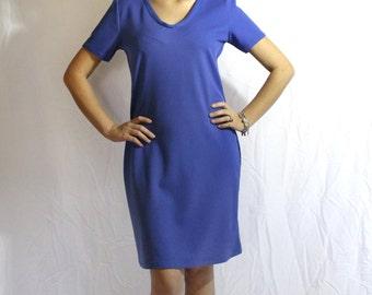 Women's Short dress, short sleeve Dress, Blue Dress, V-Neck Dress, My GF'S Closet
