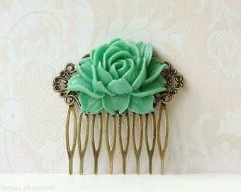 Green hair comb green jade rose flower floral filigree hair comb, bridesmaid flower comb green, bridal vintage inspired wedding accessory