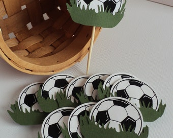 Soccer Cupcake Topper 10 Ct, Soccer Theme Decoration, Soccer Birthday Decoration.