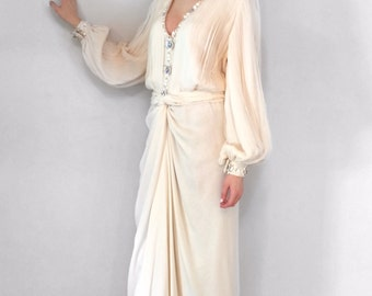 Vintage 1980's Galanos Beaded and Pleated Silk Chiffon White/Cream Evening Gown