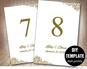 4x6 table tent template - 4x6 printable table numbers template pink gold