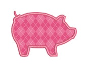 "BUY2GET1FREE - 3"", 4"", 5"", 6"" Simple Pig Applique Machine Embroidery Design - Satin Stitch With Bean Stitch - Instant Download"