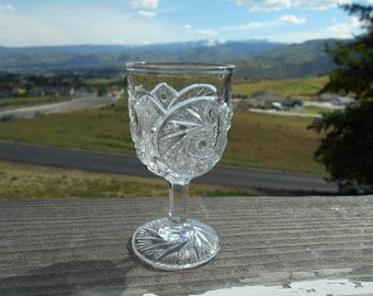 "Pressed Glass Goblet or Cordial, Pinwheel Pattern, 2-1/4"" Diameter x 4-1/4"" Tall"