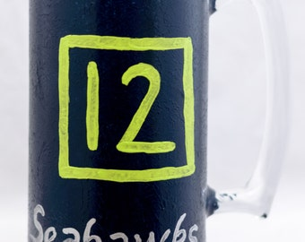 Glass Mug - 24 oz - 12th Man Seahawks™ Design - Hand Painted