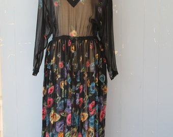 Vintage 70s/80s/ Sheer Black Floral Dress/Maxi Dress/Boho/Gatsby/Pleats/