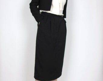 shin length skirt / XS / wool deepest black / fully lined / vintage long skirt minimal simple / XS small size 0 - 2
