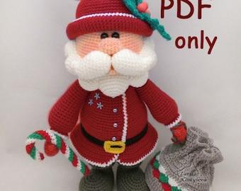 Santa, amigurumi crochet pattern pdf