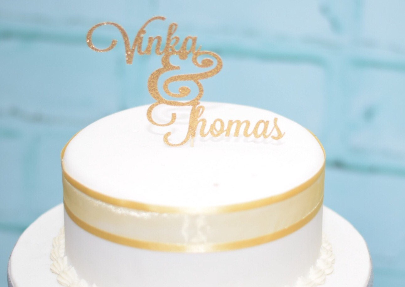 Old Fashioned Personalised Name Wedding Cake Toppers Illustration ...