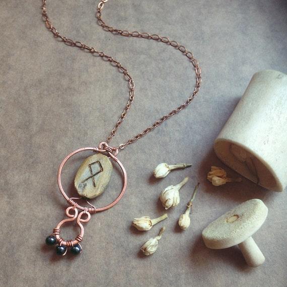 othala rune necklace hammered copper necklace viking. Black Bedroom Furniture Sets. Home Design Ideas