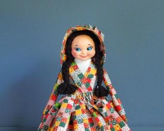 Vintage handmade doll with Kewpie doll head/ Vintage Kewpie Doll/ Handmade Doll Outfit/ Quilt pattern