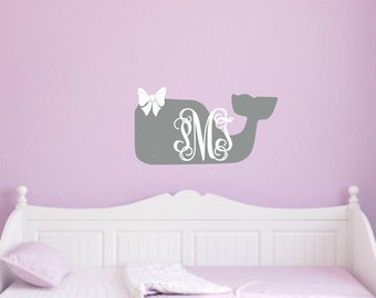 Whale Wall Decal With Bow Whale Monogram Decal Whale Vinyl Decal Nautical Nursery Decal Girl Nursery Decal Nursery Monogram With Bow