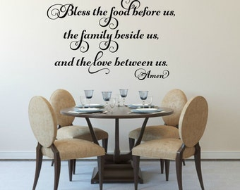 Bless The Food Before Us Vinyl Decal Kitchen Wall Decal Prayer Decal Dining  Room Decal Religious