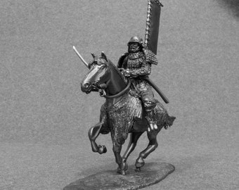 Japanese Action Figurine Samurai 16th Century Horse Rider 1/32 Scale Toy Soldier 54mm Tin Metal Miniature Statuette
