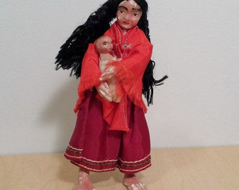 Native American Composition Doll, Squaw and Papoose, Mother and Child, vintage American Indian dolls
