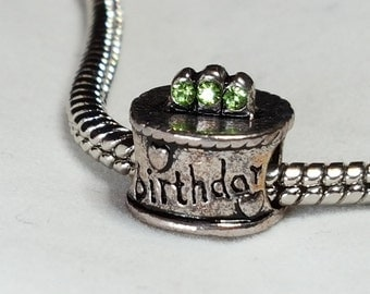 Birthday Cake - Green Peridot Crystals in Candles - Very Cute Charm - Fits all Designer and European Charm Bracelets