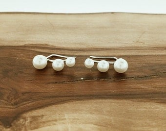 925 Sterling Silver Pearl Ear Crawlers Climbers