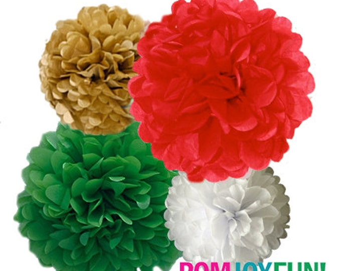 Christmas Poms, Red, Green, White Tissue Paper Pom Poms, 4 Piece Set, Christmas Wedding Decor, Holiday Party Decor, Christmas Party Decor
