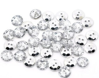 25 Acrylic silver backed Crystal Buttons 13mm.  Sewing Knitting Scrapbook and other craft projects