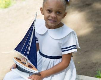 SAILOR Anchors Aweigh Dress - Girls/Baby/Toddler Sizes 3 Month through 12 Years - CUSTOM - White & Navy