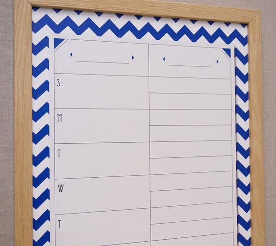 Framed Weekly Calendar / Menu Plan Whiteboard - Navy Chevron Large Dry ...