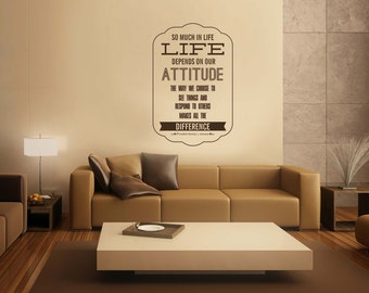 President Thomas S Monson Quote: So Much In Life Depends On Our Attitude The Way We Choose To See Things LDS Vinyl Wall Decal Home Decor